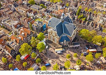 Aerial view over Noorderkerk and Jordaan