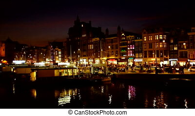 Amsterdam at night in the Netherlan