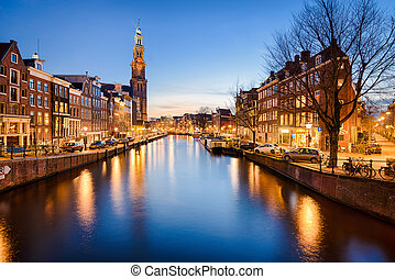 Amsterdam at night, Netherlands - The Westerkerk church in...