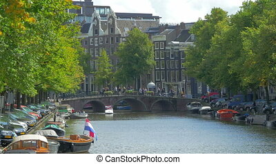 AMSTERDAM - August 25, 2014: 4k UHD. Canal in Amsterdam, Holland.
