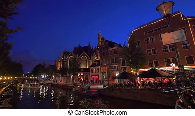 Amsterdam at night, Holland - AMSTERDAM - August 25, 2014:...