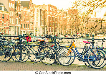 Amsterdam canal and bicycles