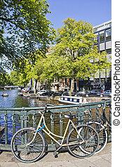 Amsterdam canal and bike