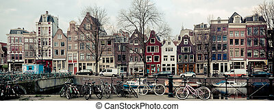 Amsterdam Canal Street view. Long wide banner