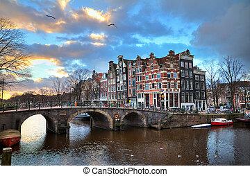 Amsterdam canal sunset