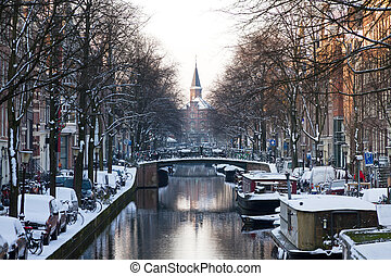 Amsterdam canal winter