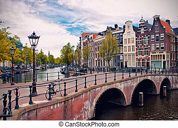 Amsterdam canals - Beautiful view of Amsterdam canals with...
