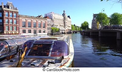 Amsterdam center, Netherlands - city life in the center of...