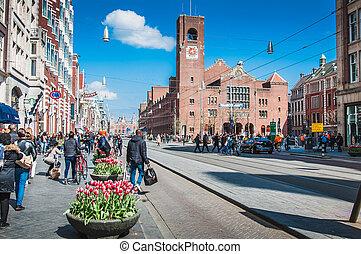Amsterdam Central Station on the Damrak