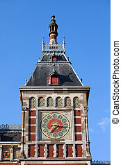 Amsterdam Central Train Station Clock Tower