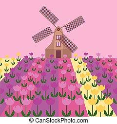 Amsterdam city flat art. Travel landmark, architecture of netherlands, Holland houses, windmill in tulips