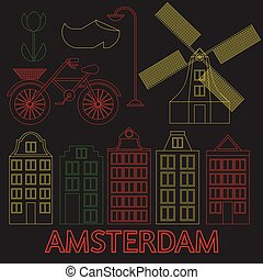 Amsterdam city flat line art. Travel landmark, architecture of netherlands, Holland houses, european building isolated set, nightlife neon light