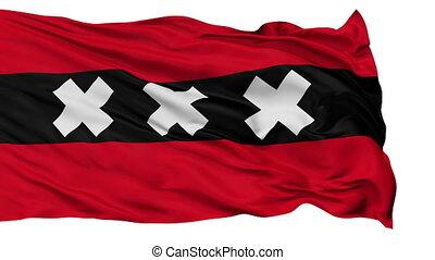Amsterdam City Isolated Waving Flag - Amsterdam Capital City...
