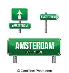 amsterdam city road sign