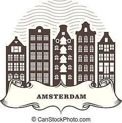 Amsterdam city skyline - generic buildings, cityscape of Amsterdam Holland