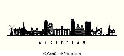 Amsterdam city skyline horizontal banner.