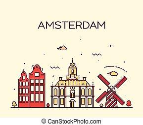 Amsterdam City skyline Trendy vector line art