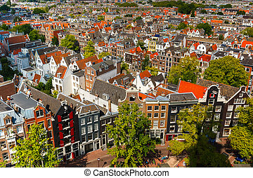 Amsterdam city view from Westerkerk, Holland, Netherlands. -...