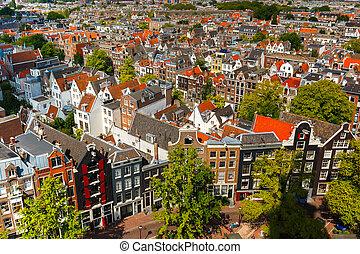 Amsterdam city view from Westerkerk, Holland, Netherlands. -...