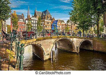 Amsterdam cityscape - Bridge over canal in Amsterdam