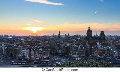 Amsterdam cityscape timelapse