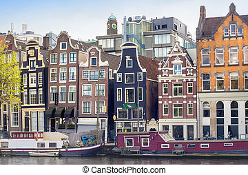 Amsterdam colourful buildings.
