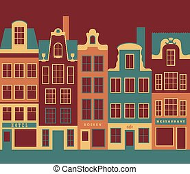 Amsterdam - Row of amsterdam style old european narrow...