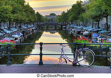 amsterdam, fahrrad, brücke