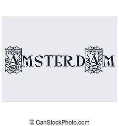 Amsterdam flat color illustration on white