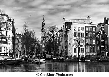 Amsterdam Groenburgwal BW - Beautiful view of the river ...
