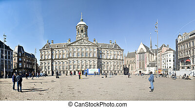AMSTERDAM, HOLLAND - MARCH, 25: Dam square-Some street scene...