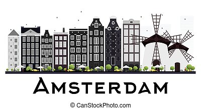 Amsterdam Holland Skyline with Gray Buildings Isolated on White Background.