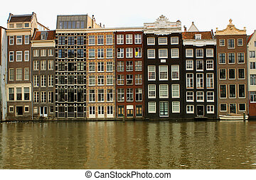 Amsterdam, Holland - traditional houses in the city