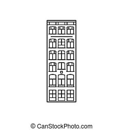 Amsterdam house icon, outline style