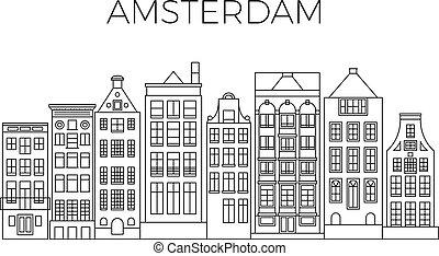 Amsterdam houses city panorama. Dutch street buildings vector skyline
