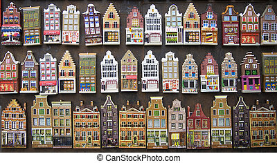 Souvenirs; facades of canal houses in Amsterdam, the Netherlands