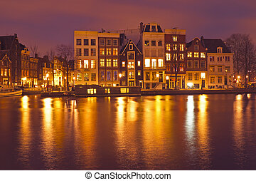 amsterdam, huisen, door, nacht in, de, nederland
