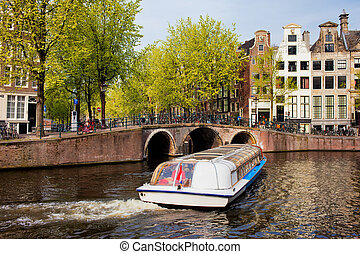 Amsterdam in Spring - Picturesque scenery of Herengracht...