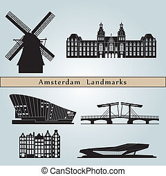 Amsterdam landmarks and monuments isolated on blue background in editable vector file