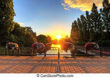 amsterdam, levers de soleil, pont