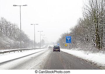 amsterdam, nederland, snowstorm, geleider