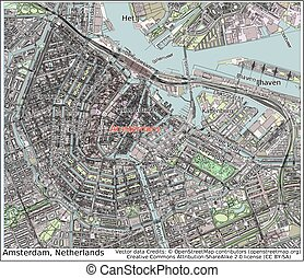 Amsterdam Netherlands city map aerial view