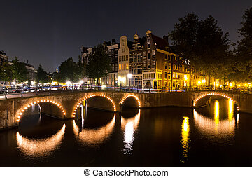 Amsterdam nightscape canal - Beautiful view on a canal in...