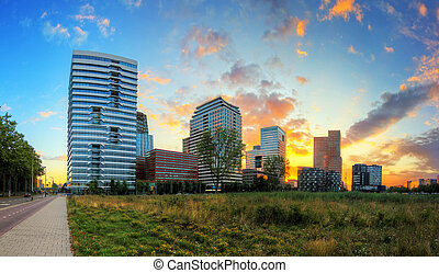 Beautiful sunrise panorama of the office buildings in Amsterdam South, The Netherlands