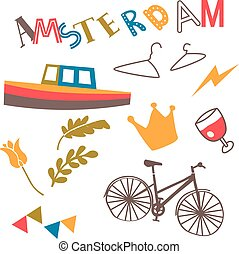 Amsterdam pattern flat illustration on white