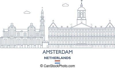 amsterdam, pays-bas, horizon, ville