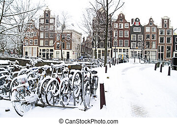 amsterdam, Pays-Bas, neigeux
