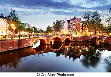 amsterdam, pays-bas, nuit