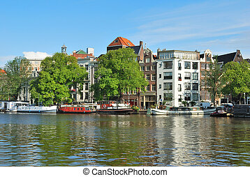 amsterdam., río, amstel, terraplén