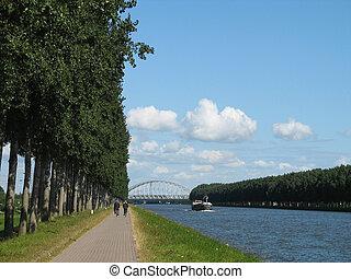 Amsterdam-Rhine Canal in Weesp, Holland.